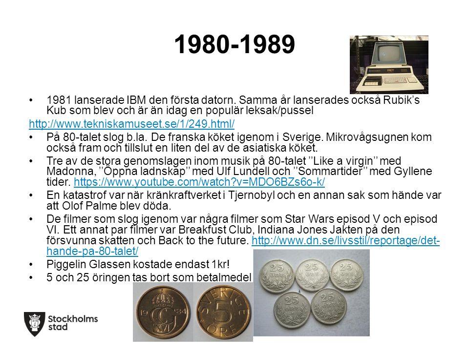 1980-1989 1981 lanserade IBM den första datorn.