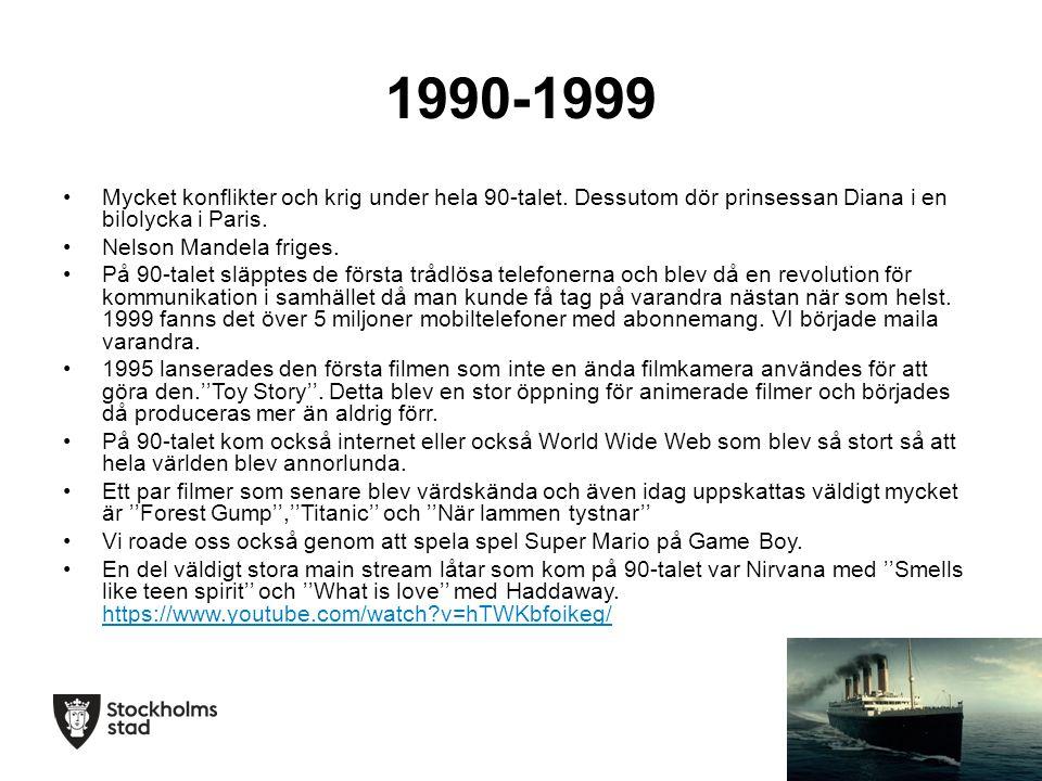 1990-1999 Mycket konflikter och krig under hela 90-talet.