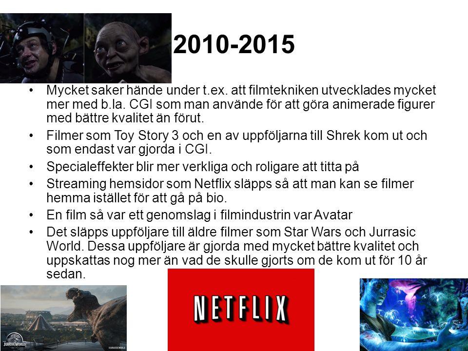 2010-2015 Mycket saker hände under t.ex. att filmtekniken utvecklades mycket mer med b.la.