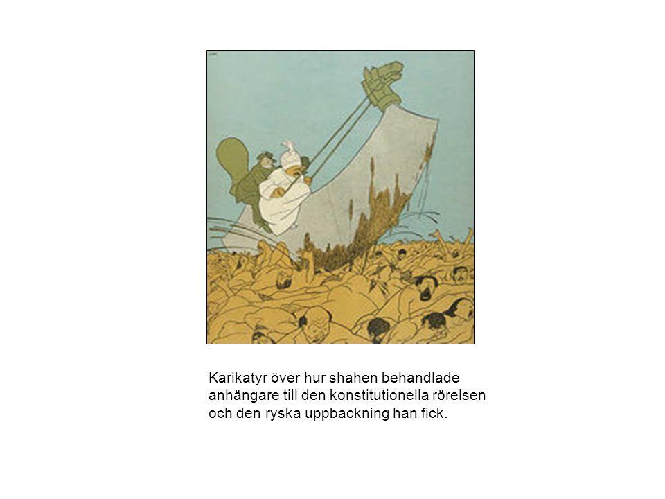 Karikatyr över hur shahen behandlade anhängare till den konstitutionella rörelsen och den ryska uppbackning han fick.
