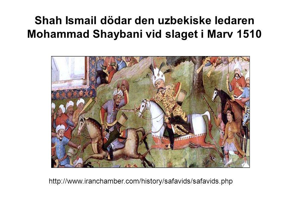 Shah Ismail dödar den uzbekiske ledaren Mohammad Shaybani vid slaget i Marv 1510 http://www.iranchamber.com/history/safavids/safavids.php