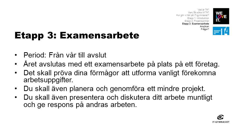 Etapp 3: Examensarbete Period: Från vår till avslut Året avslutas med ett examensarbete på plats på ett företag.