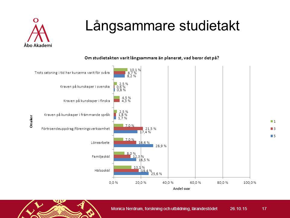 Långsammare studietakt 26.10.15 Monica Nerdrum, forskning och utbildning, lärandestödet 17