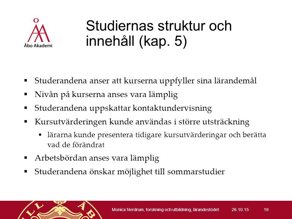 Studiernas struktur och innehåll (kap.