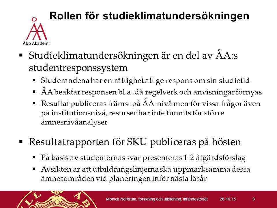 Rollen för studieklimatundersökningen  Studieklimatundersökningen är en del av ÅA:s studentresponssystem  Studerandena har en rättighet att ge respons om sin studietid  ÅA beaktar responsen bl.a.