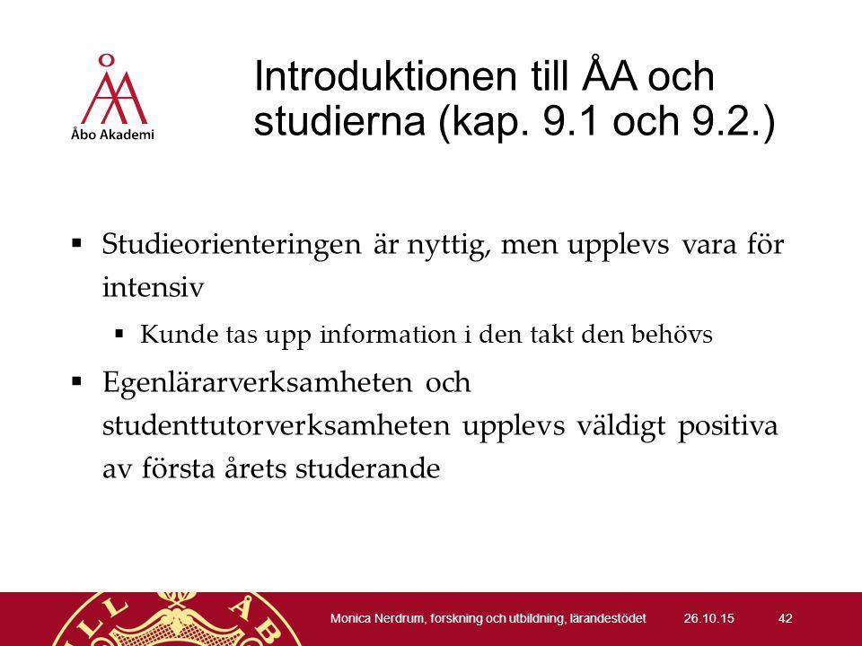 Introduktionen till ÅA och studierna (kap.