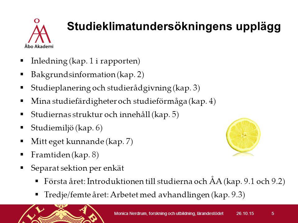 Studieklimatundersökningens upplägg  Inledning (kap.