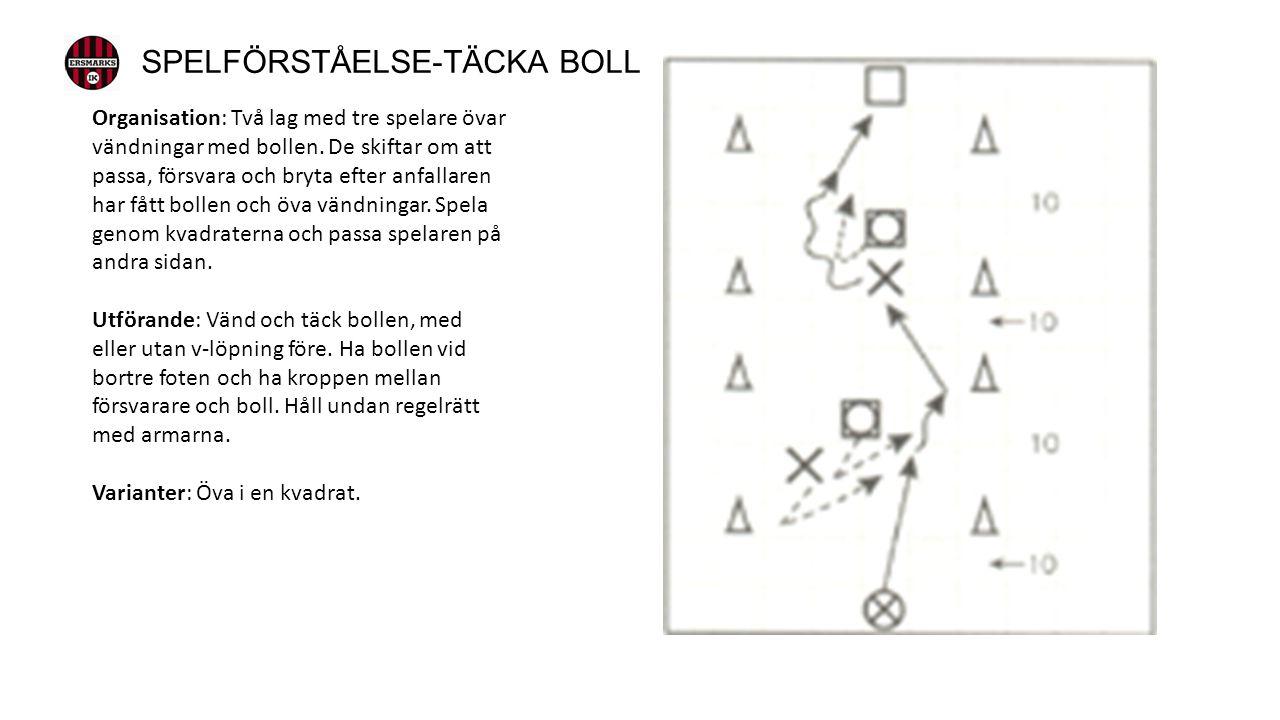 Organisation: Två lag med tre spelare övar vändningar med bollen.