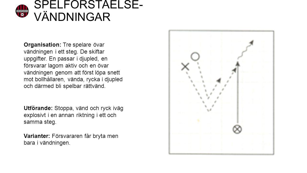 Organisation: Tre spelare övar vändningen i ett steg.