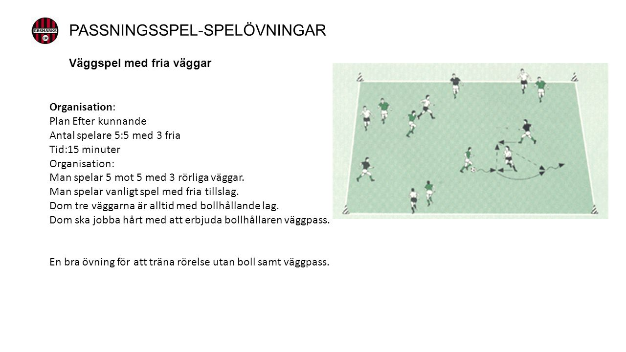 Väggspel med fria väggar Organisation: Plan Efter kunnande Antal spelare 5:5 med 3 fria Tid:15 minuter Organisation: Man spelar 5 mot 5 med 3 rörliga väggar.