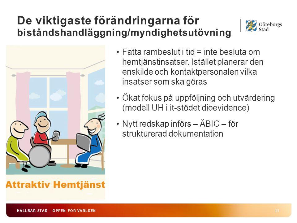HÅLLBAR STAD – ÖPPEN FÖR VÄRLDEN 11 Fatta rambeslut i tid = inte besluta om hemtjänstinsatser.