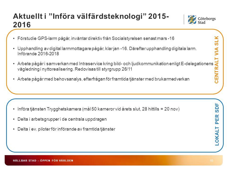 Aktuellt i Införa välfärdsteknologi 2015- 2016 15 HÅLLBAR STAD – ÖPPEN FÖR VÄRLDEN Förstudie GPS-larm pågår, inväntar direktiv från Socialstyrelsen senast mars -16 Upphandling av digital larmmottagare pågår, klar jan -16.