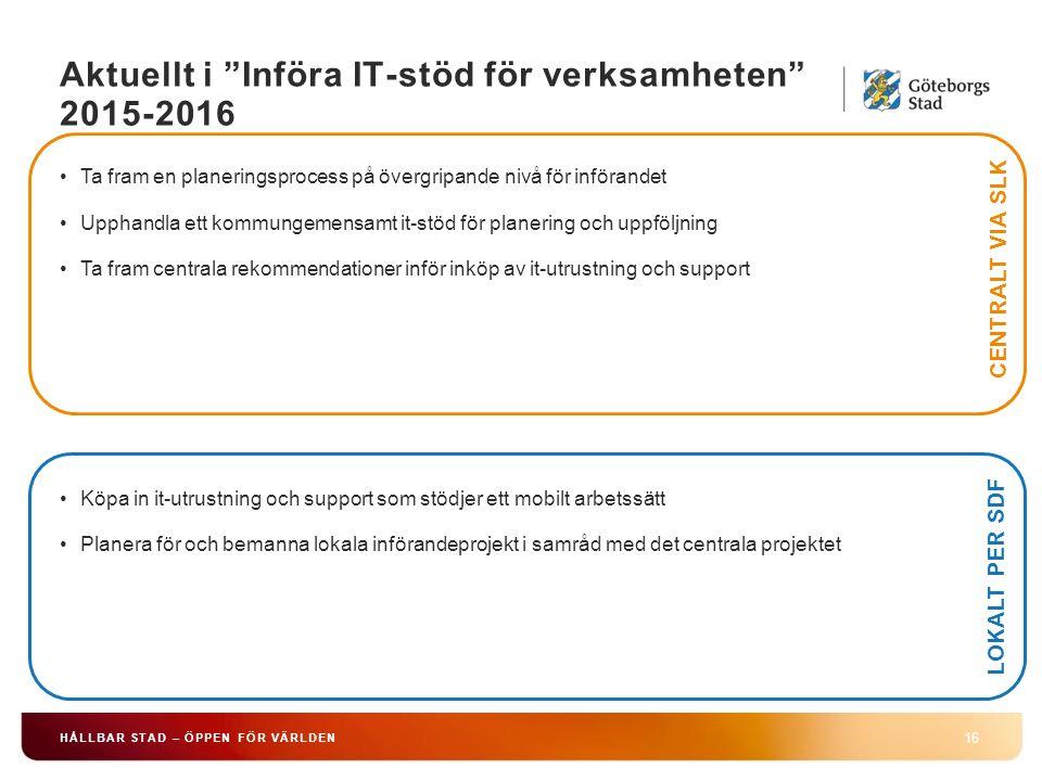 """Aktuellt i """"Införa IT-stöd för verksamheten"""" 2015-2016 16 HÅLLBAR STAD – ÖPPEN FÖR VÄRLDEN Ta fram en planeringsprocess på övergripande nivå för inför"""