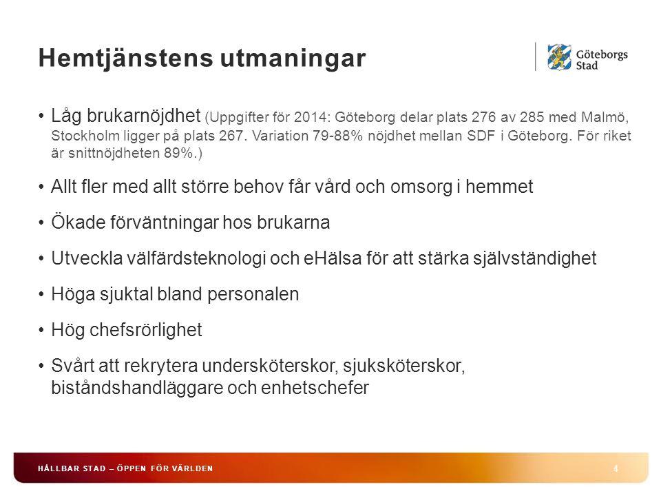 Hemtjänstens utmaningar 4 HÅLLBAR STAD – ÖPPEN FÖR VÄRLDEN Låg brukarnöjdhet (Uppgifter för 2014: Göteborg delar plats 276 av 285 med Malmö, Stockholm ligger på plats 267.
