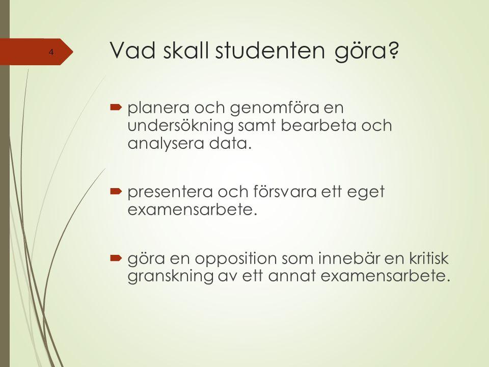 Vad skall studenten göra.  planera och genomföra en undersökning samt bearbeta och analysera data.