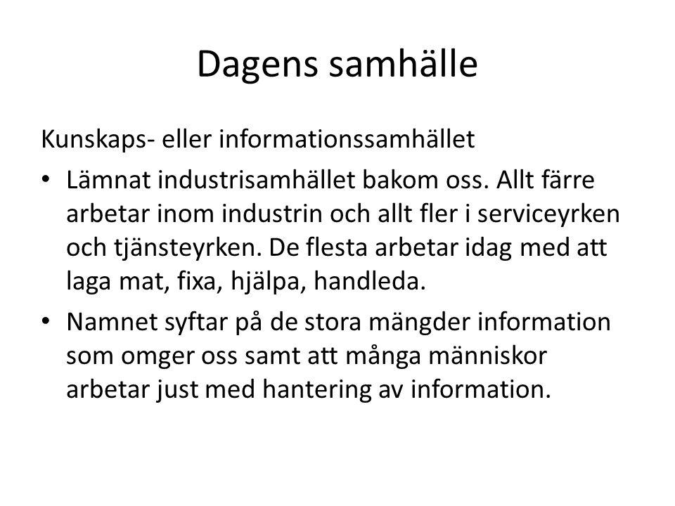 Dagens samhälle Kunskaps- eller informationssamhället Lämnat industrisamhället bakom oss.