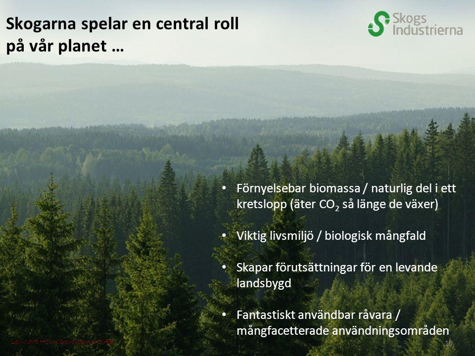Skogarna spelar en central roll på vår planet … Förnyelsebar biomassa / naturlig del i ett kretslopp (äter CO 2 så länge de växer) Viktig livsmiljö / biologisk mångfald Skapar förutsättningar för en levande landsbygd Fantastiskt användbar råvara / mångfacetterade användningsområden Lennart Holm Development AB 10