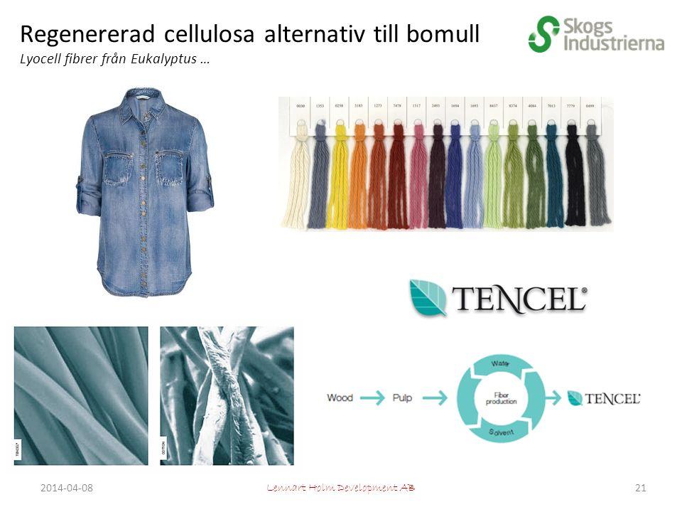 Regenererad cellulosa alternativ till bomull Lyocell fibrer från Eukalyptus … Lennart Holm Development AB 212014-04-08