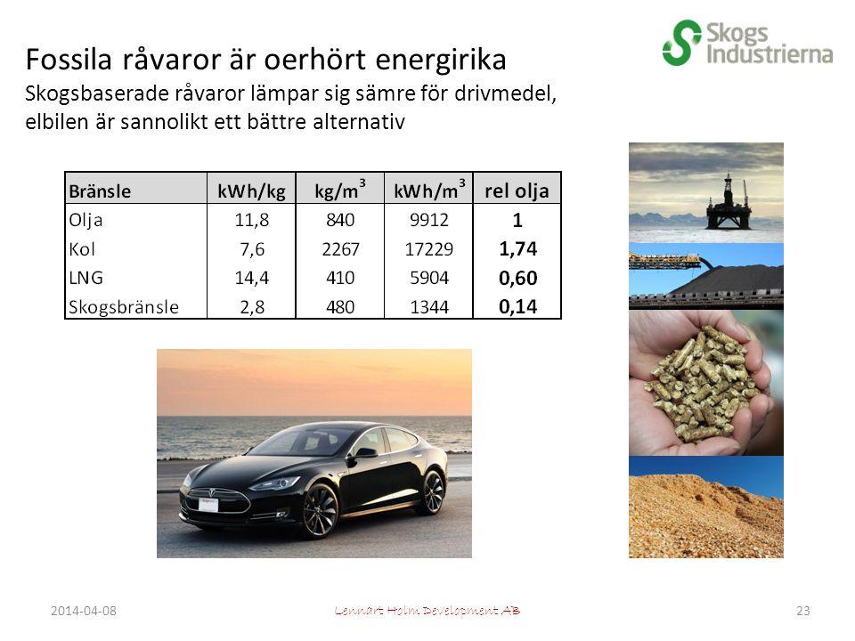 Fossila råvaror är oerhört energirika Skogsbaserade råvaror lämpar sig sämre för drivmedel, elbilen är sannolikt ett bättre alternativ Lennart Holm Development AB 232014-04-08