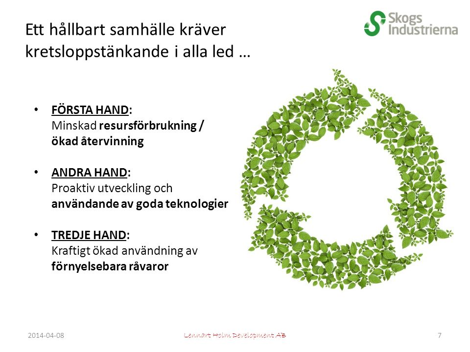 Ett hållbart samhälle kräver kretsloppstänkande i alla led … Lennart Holm Development AB FÖRSTA HAND: Minskad resursförbrukning / ökad återvinning ANDRA HAND: Proaktiv utveckling och användande av goda teknologier TREDJE HAND: Kraftigt ökad användning av förnyelsebara råvaror 72014-04-08
