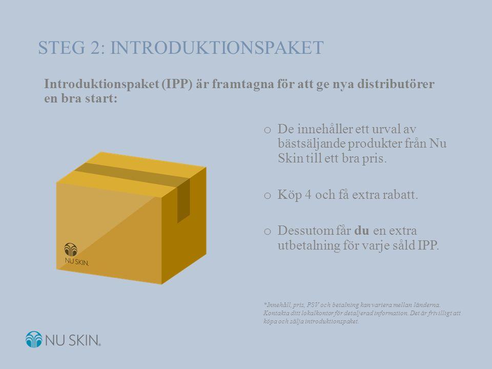 Introduktionspaket (IPP) är framtagna för att ge nya distributörer en bra start: o De innehåller ett urval av bästsäljande produkter från Nu Skin till ett bra pris.