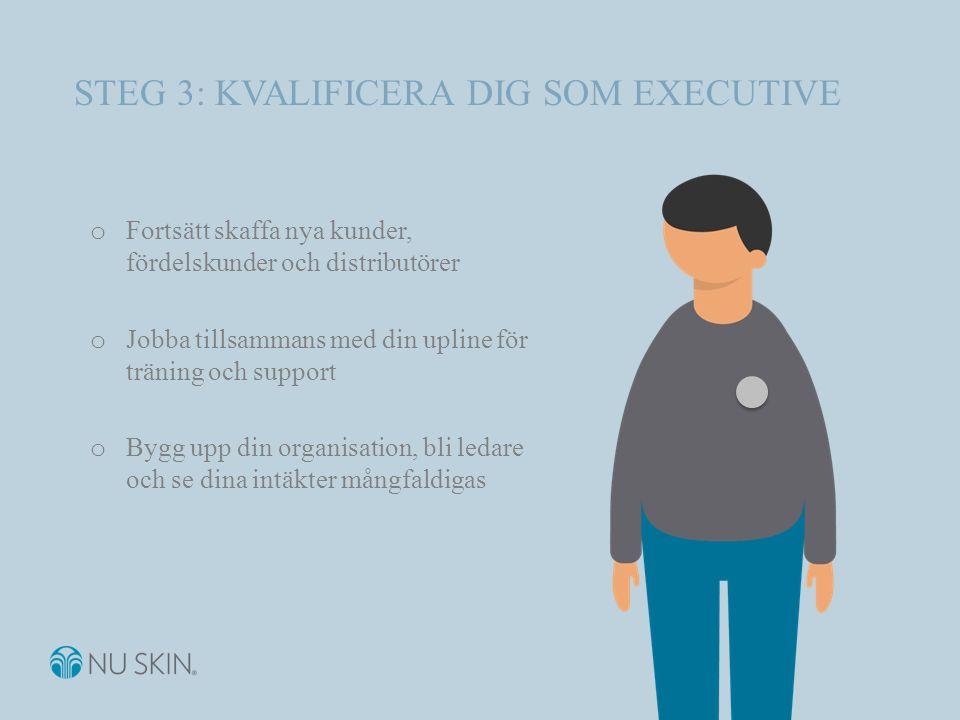 STEG 3: KVALIFICERA DIG SOM EXECUTIVE o Fortsätt skaffa nya kunder, fördelskunder och distributörer o Jobba tillsammans med din upline för träning och support o Bygg upp din organisation, bli ledare och se dina intäkter mångfaldigas