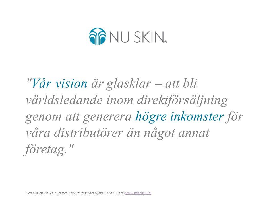 Vår vision är glasklar – att bli världsledande inom direktförsäljning genom att generera högre inkomster för våra distributörer än något annat företag. Detta är endast en översikt.