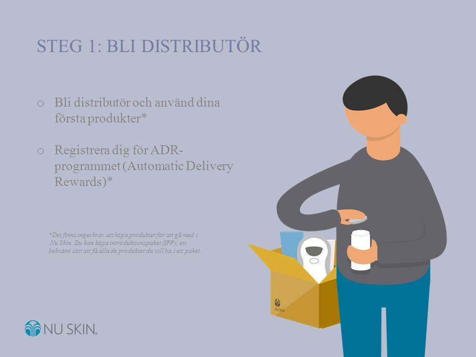 STEG 1: AUTOMATIC DELIVERY REWARDS Det lättaste sättet för dig att få produkterna du gillar o Skickas hem till dig varje månad o 5 % rabatt på produktpriset o Hantera ditt konto på internet dygnet runt, hela veckan o Tjäna in poäng för produkter baserat på 20 % av beställningens totala PSV o Produktpoängen ökar till 30 % efter 12 leveranser inom programmet o Tjäna upp till 75 produktpoäng per månad