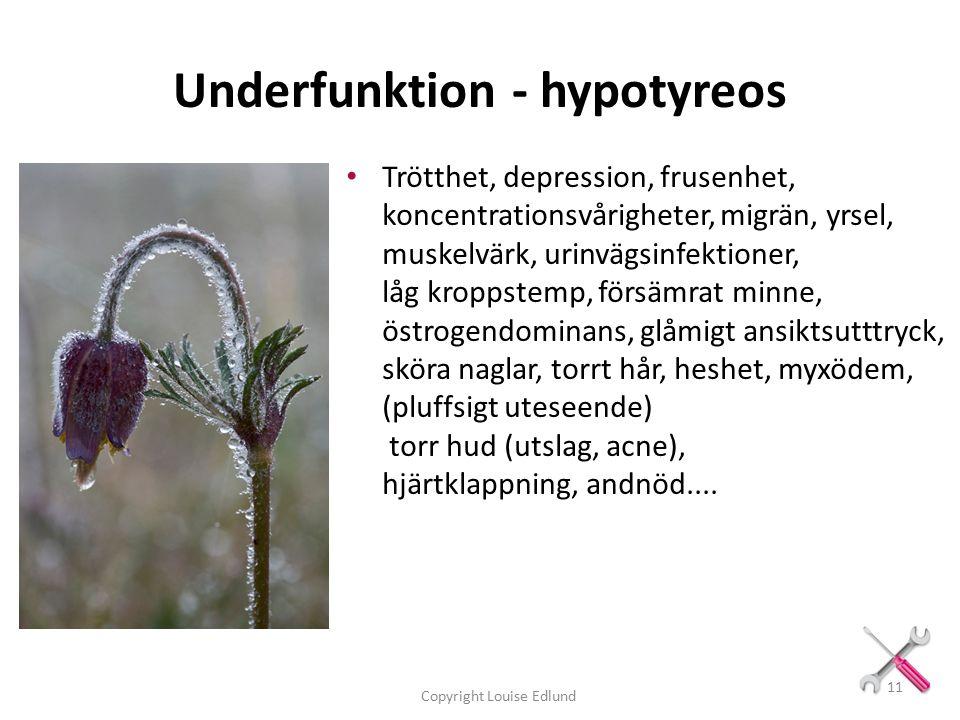 Underfunktion - hypotyreos Trötthet, depression, frusenhet, koncentrationsvårigheter, migrän, yrsel, muskelvärk, urinvägsinfektioner, låg kroppstemp, försämrat minne, östrogendominans, glåmigt ansiktsutttryck, sköra naglar, torrt hår, heshet, myxödem, (pluffsigt uteseende) torr hud (utslag, acne), hjärtklappning, andnöd....