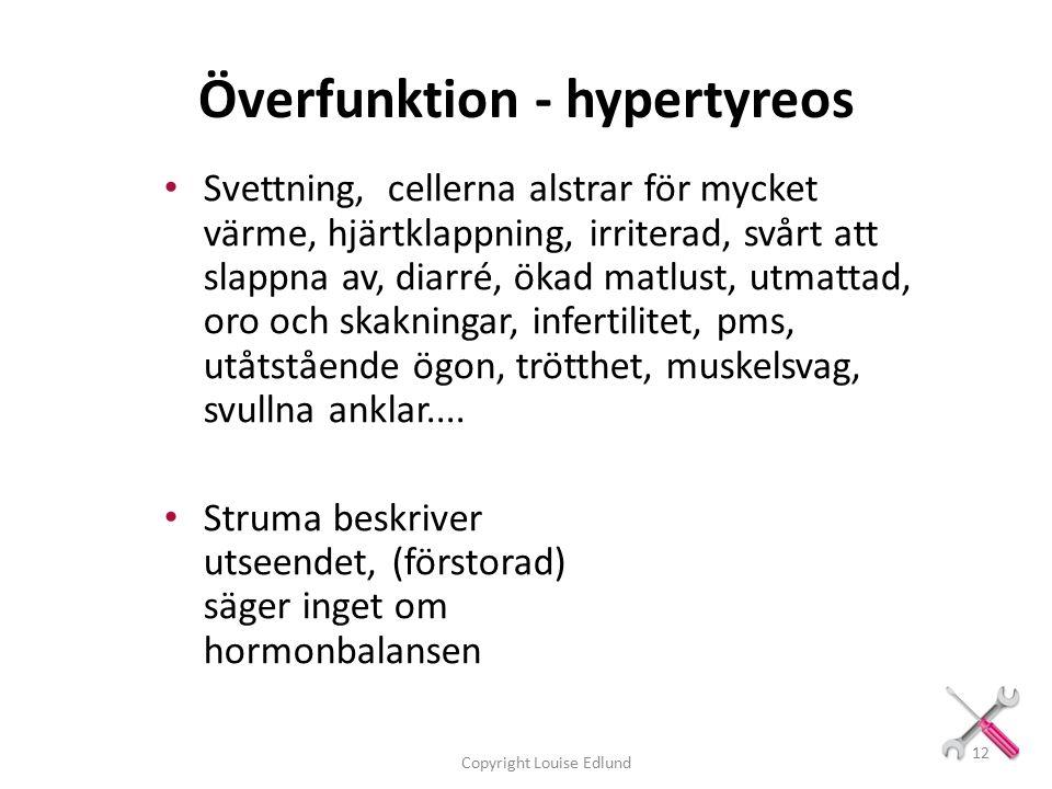 Överfunktion - hypertyreos Svettning, cellerna alstrar för mycket värme, hjärtklappning, irriterad, svårt att slappna av, diarré, ökad matlust, utmattad, oro och skakningar, infertilitet, pms, utåtstående ögon, trötthet, muskelsvag, svullna anklar....
