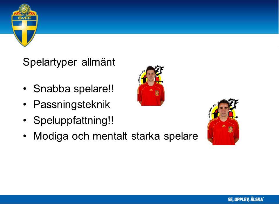 Spelartyper allmänt Snabba spelare!. Passningsteknik Speluppfattning!.