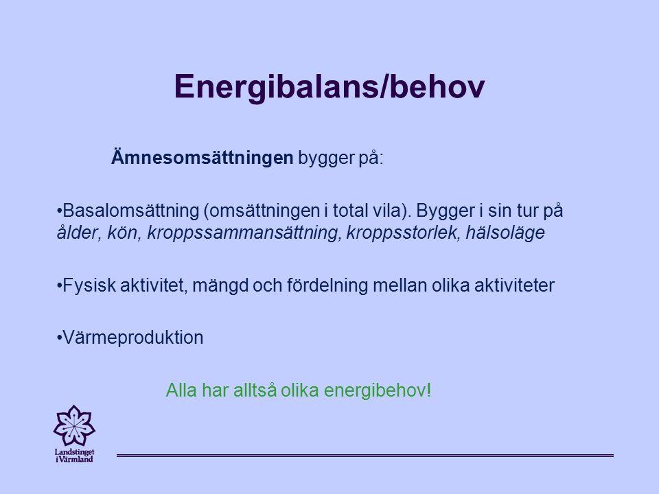 Energibalans/behov Ämnesomsättningen bygger på: Basalomsättning (omsättningen i total vila).
