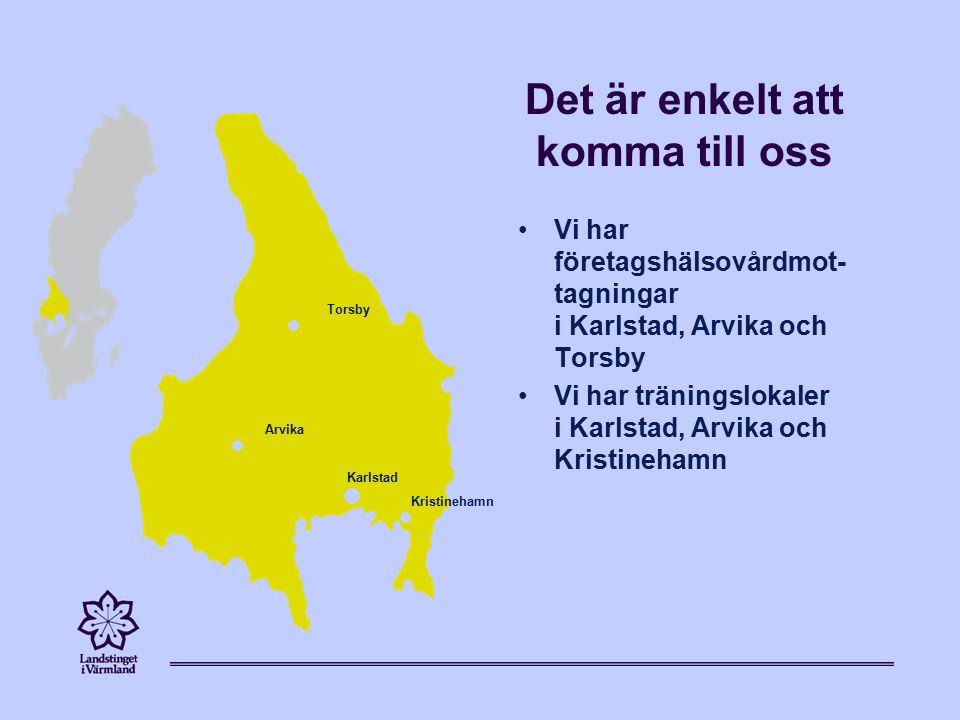 Det är enkelt att komma till oss Vi har företagshälsovårdmot- tagningar i Karlstad, Arvika och Torsby Vi har träningslokaler i Karlstad, Arvika och Kristinehamn Karlstad Kristinehamn Torsby Arvika