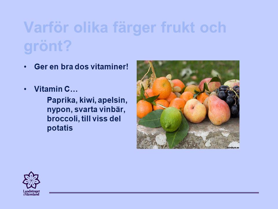 Varför olika färger frukt och grönt.Ger en bra dos vitaminer.
