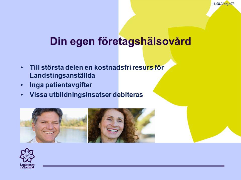 Din egen företagshälsovård Till största delen en kostnadsfri resurs för Landstingsanställda Inga patientavgifter Vissa utbildningsinsatser debiteras 11-08-3/chjo07