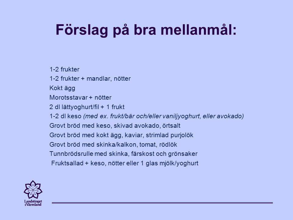 Förslag på bra mellanmål: 1-2 frukter 1-2 frukter + mandlar, nötter Kokt ägg Morotsstavar + nötter 2 dl lättyoghurt/fil + 1 frukt 1-2 dl keso (med ex.