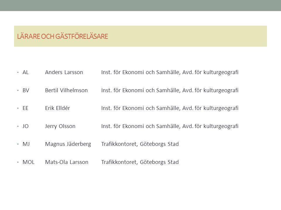 LÄRARE OCH GÄSTFÖRELÄSARE ALAnders LarssonInst. för Ekonomi och Samhälle, Avd.