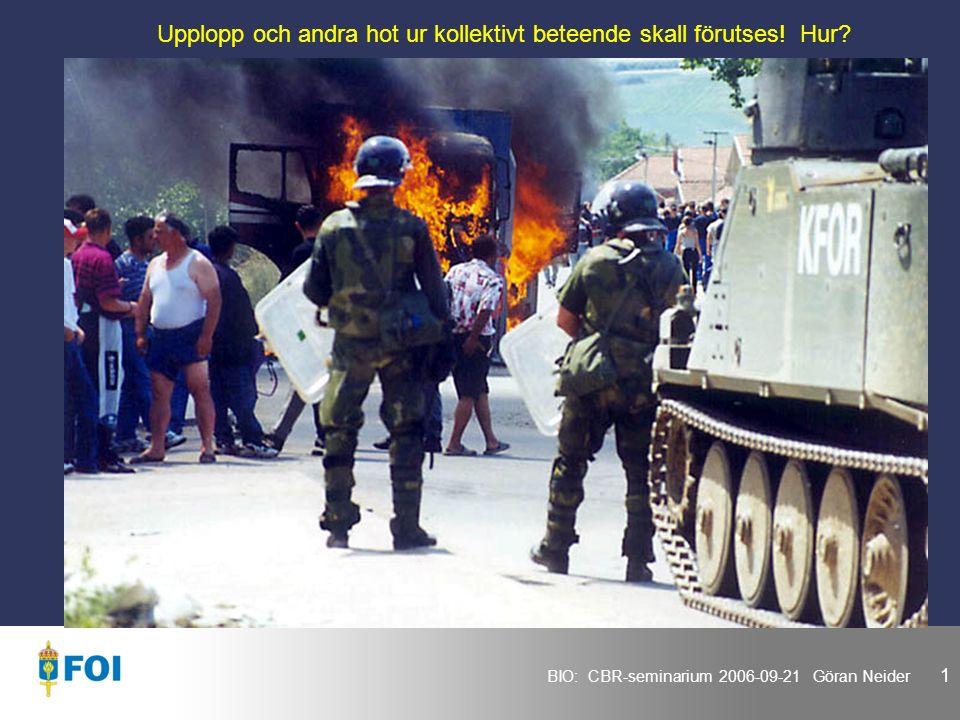BIO: CBR-seminarium 2006-09-21 Göran Neider 1 Upplopp och andra hot ur kollektivt beteende skall förutses.