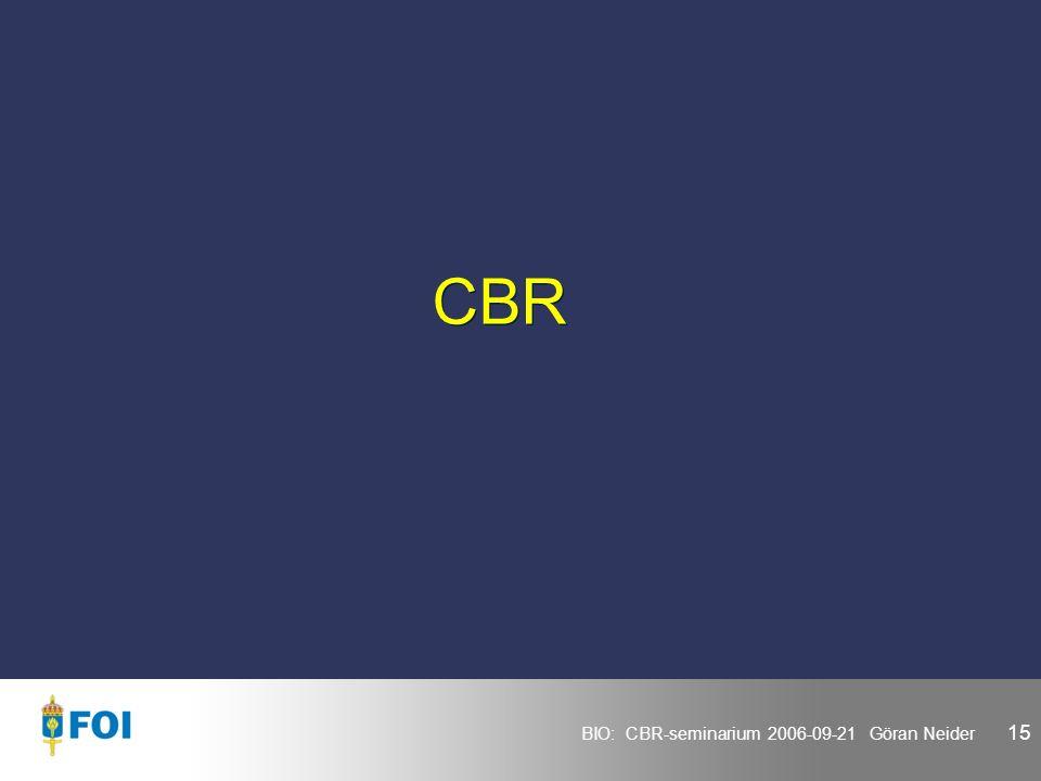 BIO: CBR-seminarium 2006-09-21 Göran Neider 15 CBR
