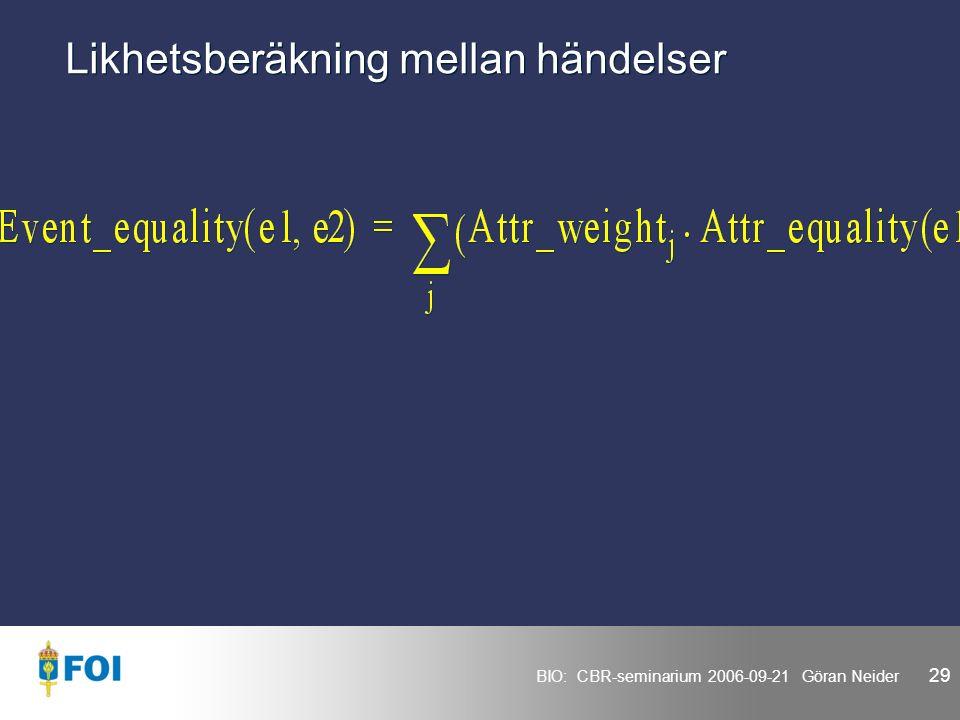 BIO: CBR-seminarium 2006-09-21 Göran Neider 29 Likhetsberäkning mellan händelser