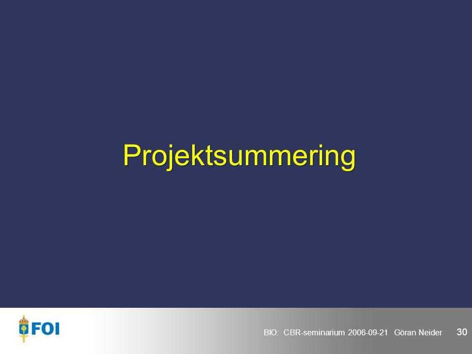 BIO: CBR-seminarium 2006-09-21 Göran Neider 30 Projektsummering