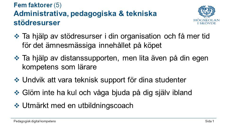 Sida 1 Pedagogisk digital kompetens Fem faktorer (5) Administrativa, pedagogiska & tekniska stödresurser  Ta hjälp av stödresurser i din organisation