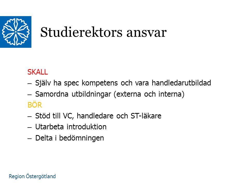 Region Östergötland SKALL – Själv ha spec kompetens och vara handledarutbildad – Samordna utbildningar (externa och interna) BÖR – Stöd till VC, handledare och ST-läkare – Utarbeta introduktion – Delta i bedömningen Studierektors ansvar
