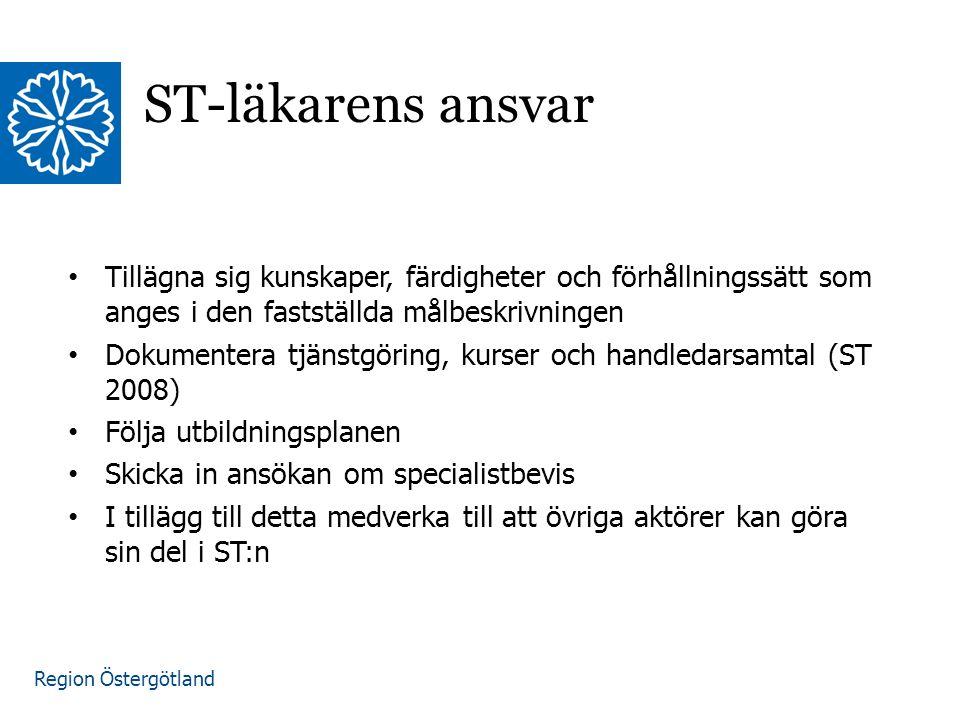 Region Östergötland www.lio.se/studierektorskansliet ST-läkarens ansvar Tillägna sig kunskaper, färdigheter och förhållningssätt som anges i den fastställda målbeskrivningen Dokumentera tjänstgöring, kurser och handledarsamtal (ST 2008) Följa utbildningsplanen Skicka in ansökan om specialistbevis I tillägg till detta medverka till att övriga aktörer kan göra sin del i ST:n