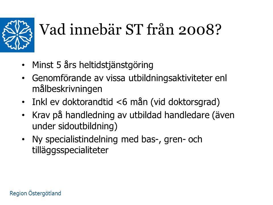 Region Östergötland www.lio.se/studierektorskansliet Vad innebär ST från 2008.