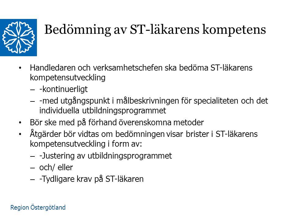 Region Östergötland www.lio.se/studierektorskansliet Bedömning av ST-läkarens kompetens Handledaren och verksamhetschefen ska bedöma ST-läkarens kompetensutveckling – -kontinuerligt – -med utgångspunkt i målbeskrivningen för specialiteten och det individuella utbildningsprogrammet Bör ske med på förhand överenskomna metoder Åtgärder bör vidtas om bedömningen visar brister i ST-läkarens kompetensutveckling i form av: – -Justering av utbildningsprogrammet – och/ eller – -Tydligare krav på ST-läkaren