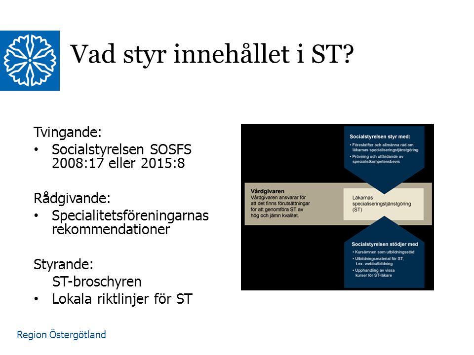 Region Östergötland Tvingande: Socialstyrelsen SOSFS 2008:17 eller 2015:8 Rådgivande: Specialitetsföreningarnas rekommendationer Styrande: ST-broschyren Lokala riktlinjer för ST Vad styr innehållet i ST.