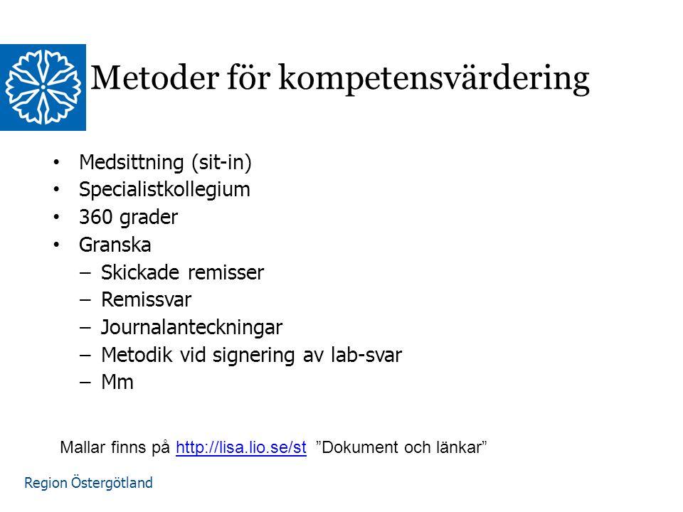 Region Östergötland www.lio.se/studierektorskansliet Metoder för kompetensvärdering Medsittning (sit-in) Specialistkollegium 360 grader Granska –Skickade remisser –Remissvar –Journalanteckningar –Metodik vid signering av lab-svar –Mm Mallar finns på http://lisa.lio.se/st Dokument och länkar http://lisa.lio.se/st