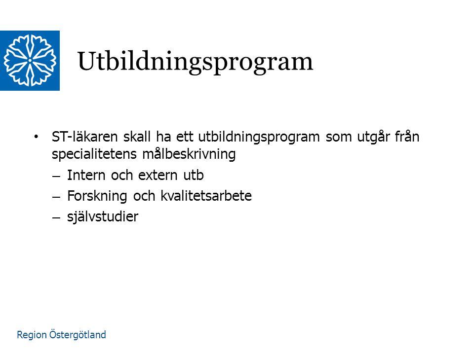 Region Östergötland ST-läkaren skall ha ett utbildningsprogram som utgår från specialitetens målbeskrivning – Intern och extern utb – Forskning och kvalitetsarbete – självstudier Utbildningsprogram