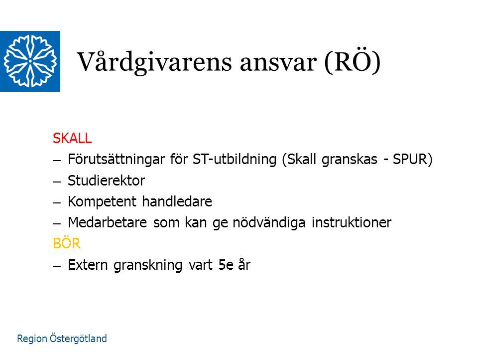 Region Östergötland SKALL – Förutsättningar för ST-utbildning (Skall granskas - SPUR) – Studierektor – Kompetent handledare – Medarbetare som kan ge nödvändiga instruktioner BÖR – Extern granskning vart 5e år Vårdgivarens ansvar (RÖ)
